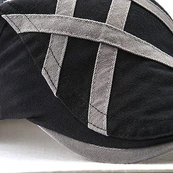 Mastojonster Casual Visors Caps Men Beret Hat for Men Flat Cap Cotton Gorras Patch Striped Fashion Hat at Amazon Mens Clothing store: