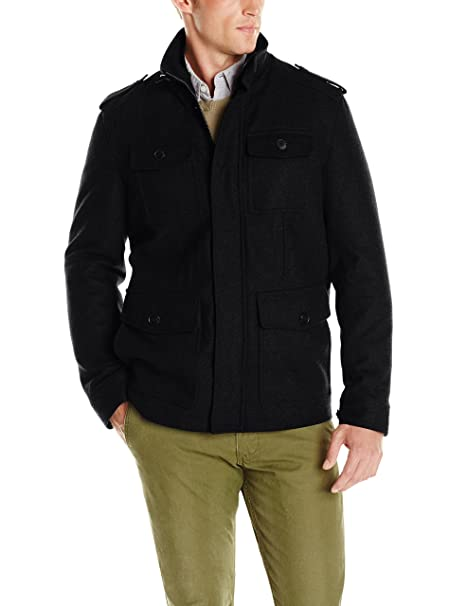 Dockers Mens Wool Four-Pocket Military Jacket