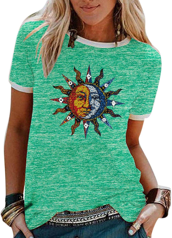 Camiseta Trendy Sun Moon para Mujer Camiseta Deportiva con Tema Sun Moon Retro para Mujer