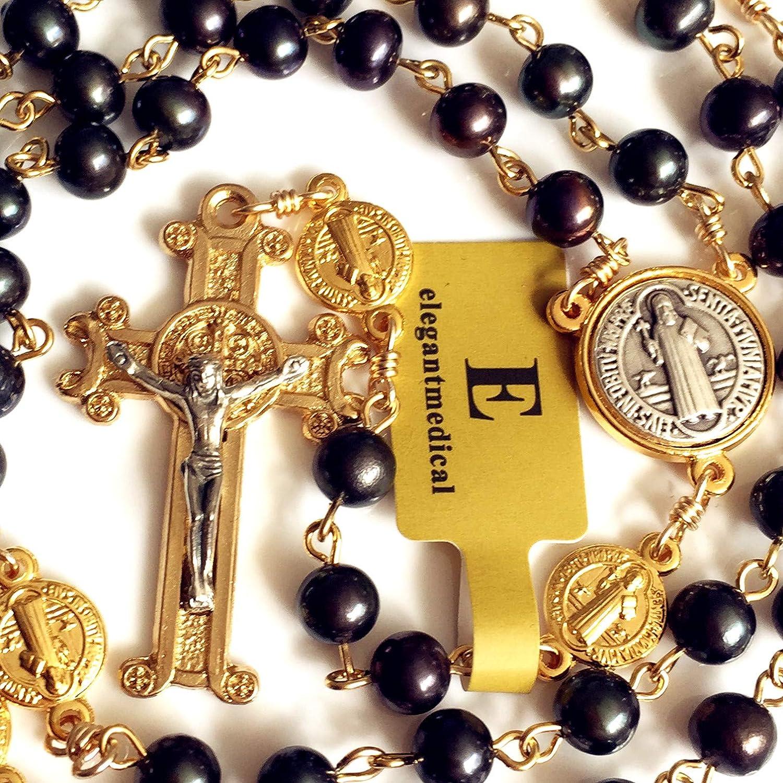 elegantmedical Handmade Black Real Pearl Freshwater Pearls Beads Catholic Gold St.Benedict Rosary Cross Prayer Necklace Gift Box