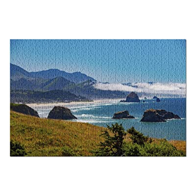 Cannon Beach, Oregon - View of The Sea Stacks & Blue Ocean with Low Clouds 9021066 (Premium 500 Piece Jigsaw Puzzle for Adults, 13x19, Made in USA!): Toys & Games