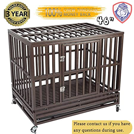 Gelinzon Heavy Duty Dog Cage Crate Kennel Playpen Large Strong Metal for Large Dogs and Pets, Easy to Assemble with Patent Lock and Four Lockable Wheels