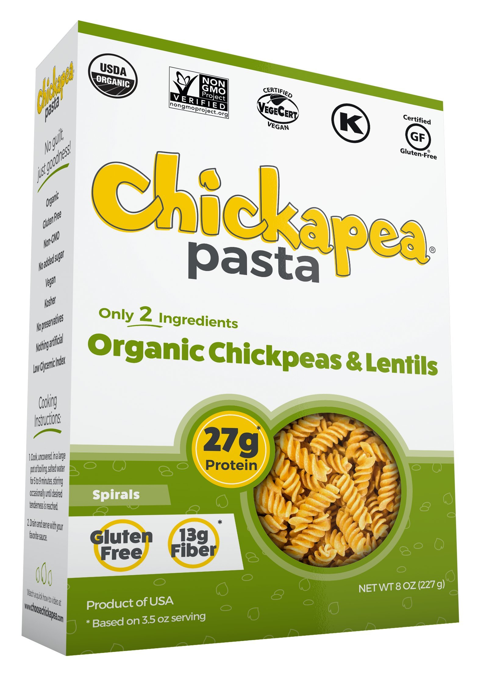 Chickapea Organic Chickpea and Red Lentil Pasta Spirals - Gluten-Free, Vegan, Protein Packed Rotini - 8 oz Each (Pack of 6) by Chickapea