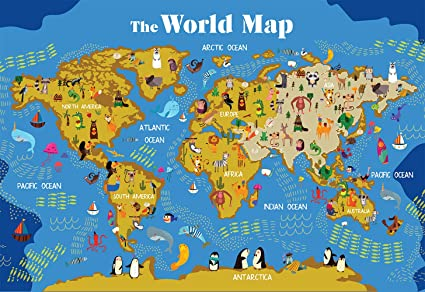 """World Map for Kids Wall Poster 19"""" x 13"""" Premium Paper UV Laminated with &  Countries & Continents Animals Images"""
