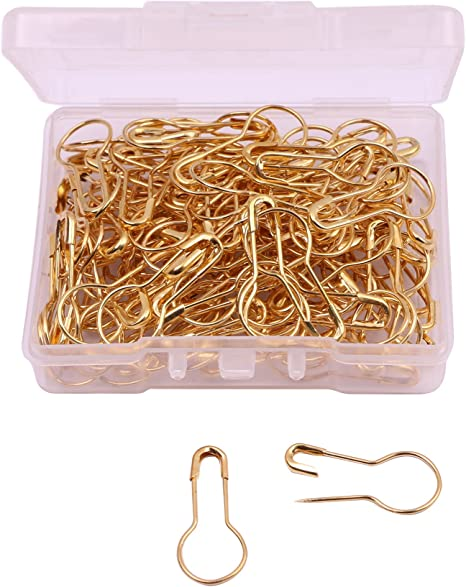 1000Pcs Pear Shaped Metal Safety Pins Brass Safety Pins Length Bronze 21mm