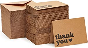 120 Pack Kraft Thank You Cards with Envelopes, Boxed Bulk Set (3.5x5 In)