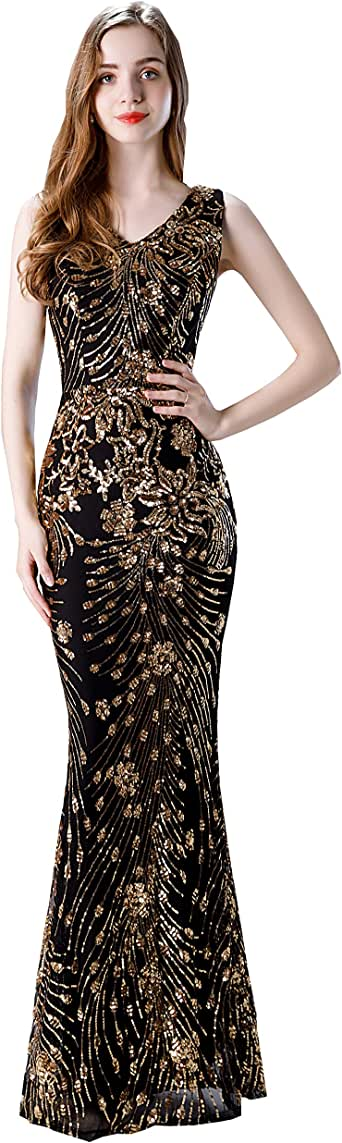 Lazacos Women's Sexy Sequins Trumpet Mermaid Prom Dresses