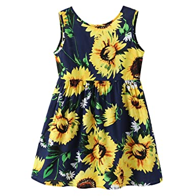 9603b9a77b0f Image Unavailable. Image not available for. Color: Fozerofo Baby Girl  Summer Dress Toddler Girl Sleeveless Sunflower Dress Casual Skirt Outfit