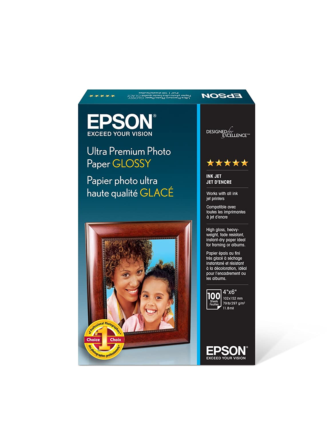 "Epson Ultra Premium Photo Paper Glossy - S042174, 4"" x 6"" (100 sheets)"