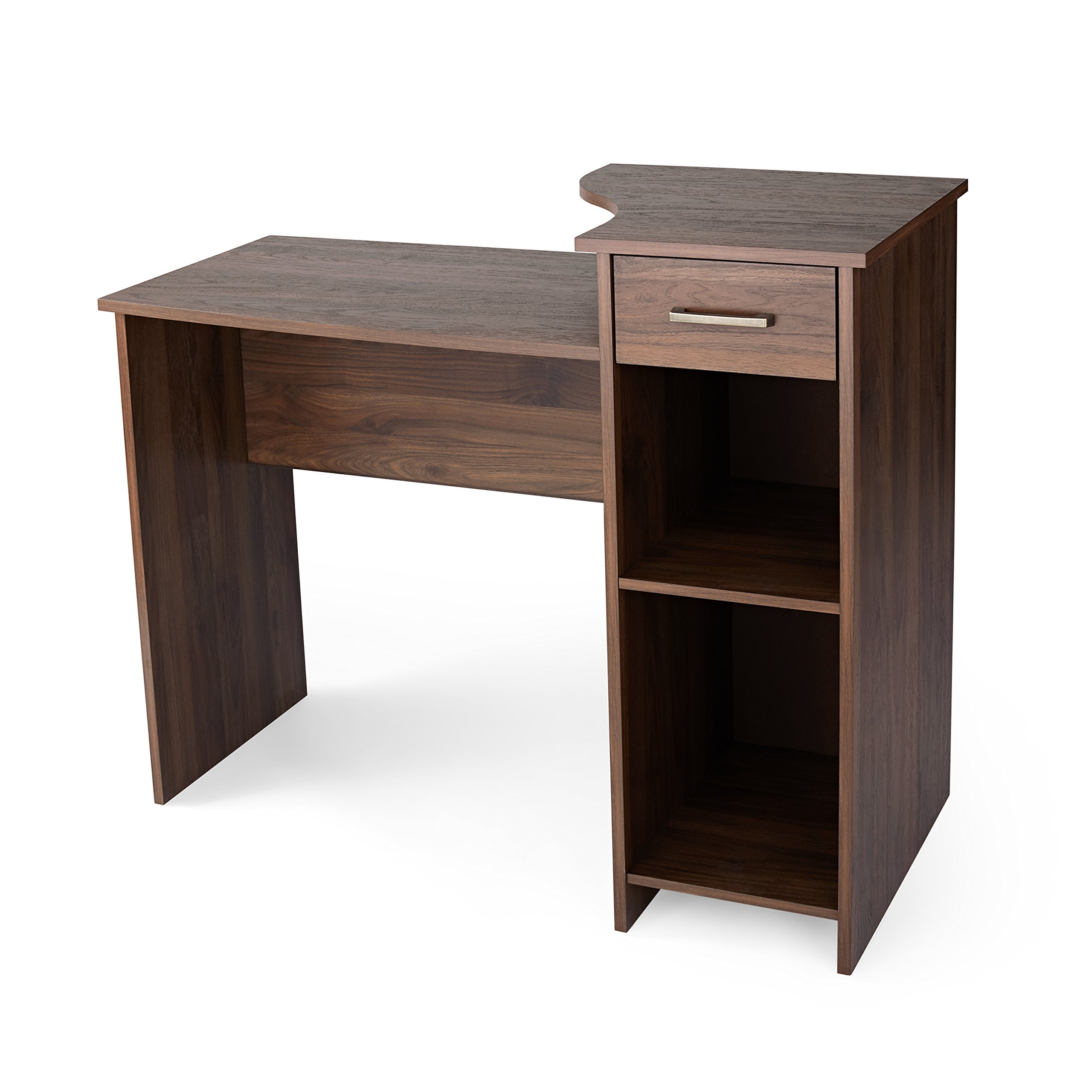 Mainstays Engineered Wood Student Desk with Adjustable Storage Shelf & Drawer in Canyon Walnut Finish