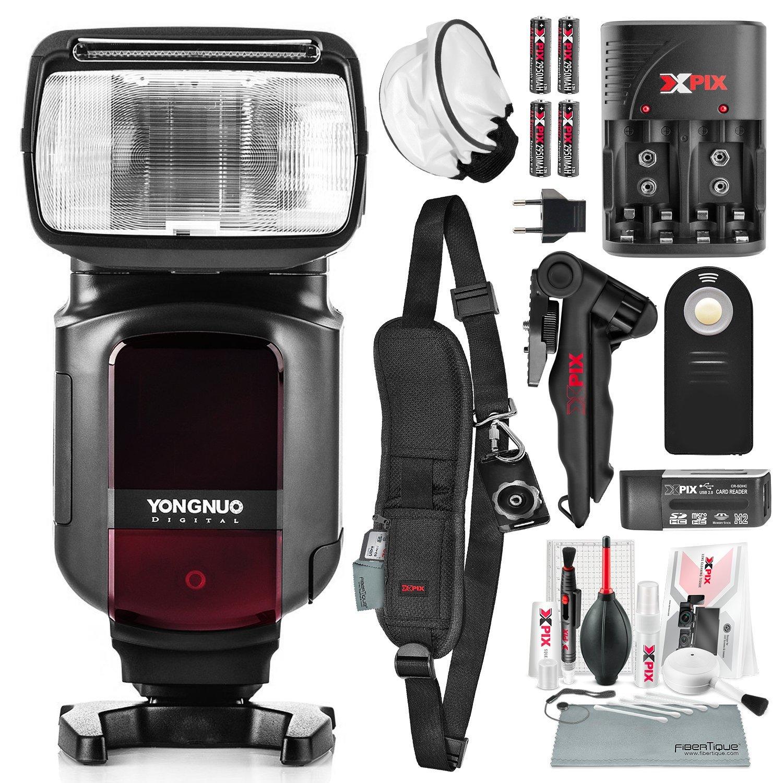 Yongnuo yn968 N TTL Speedlite for Nikonカメラフラッシュディフューザー付き充電式バッテリーキット、およびデラックスフォトバンドル   B07DQSR1S3
