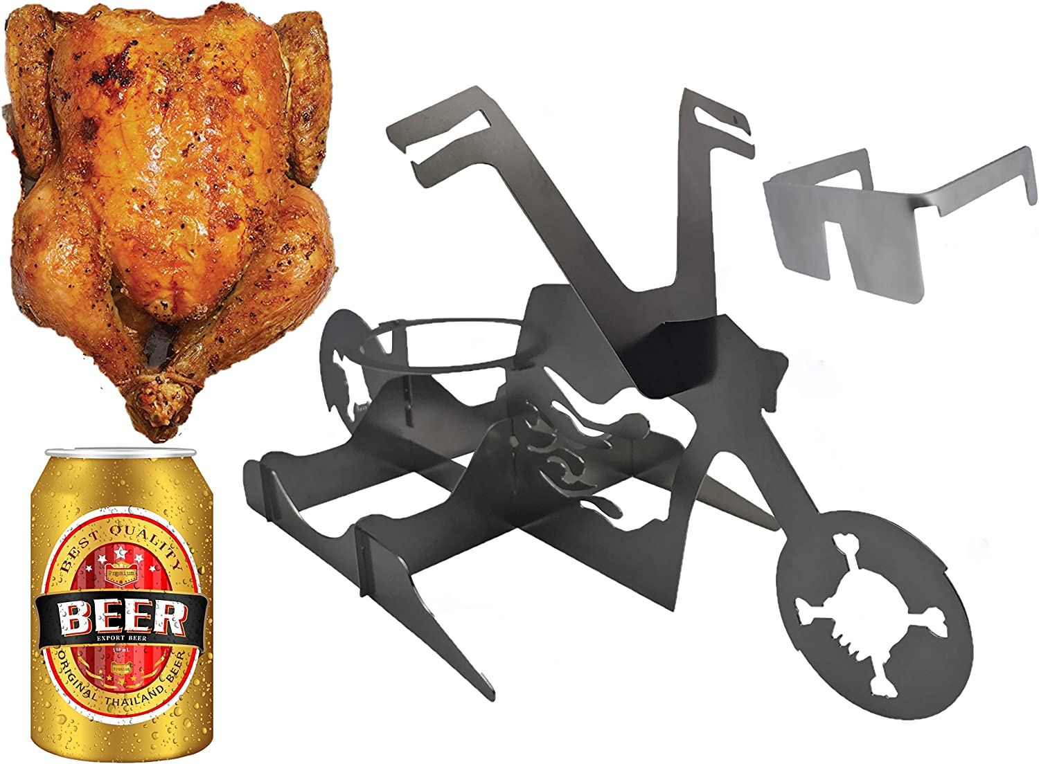 Flaming Bike Beer Can Chicken Stand! Beer chicken roaster; Stainless steel Chicken roasting rack for BBQ, Grill, oven; Great Gift! Stores flat--Space Saver! Includes FREE SUNGLASSES…for the Chicken!