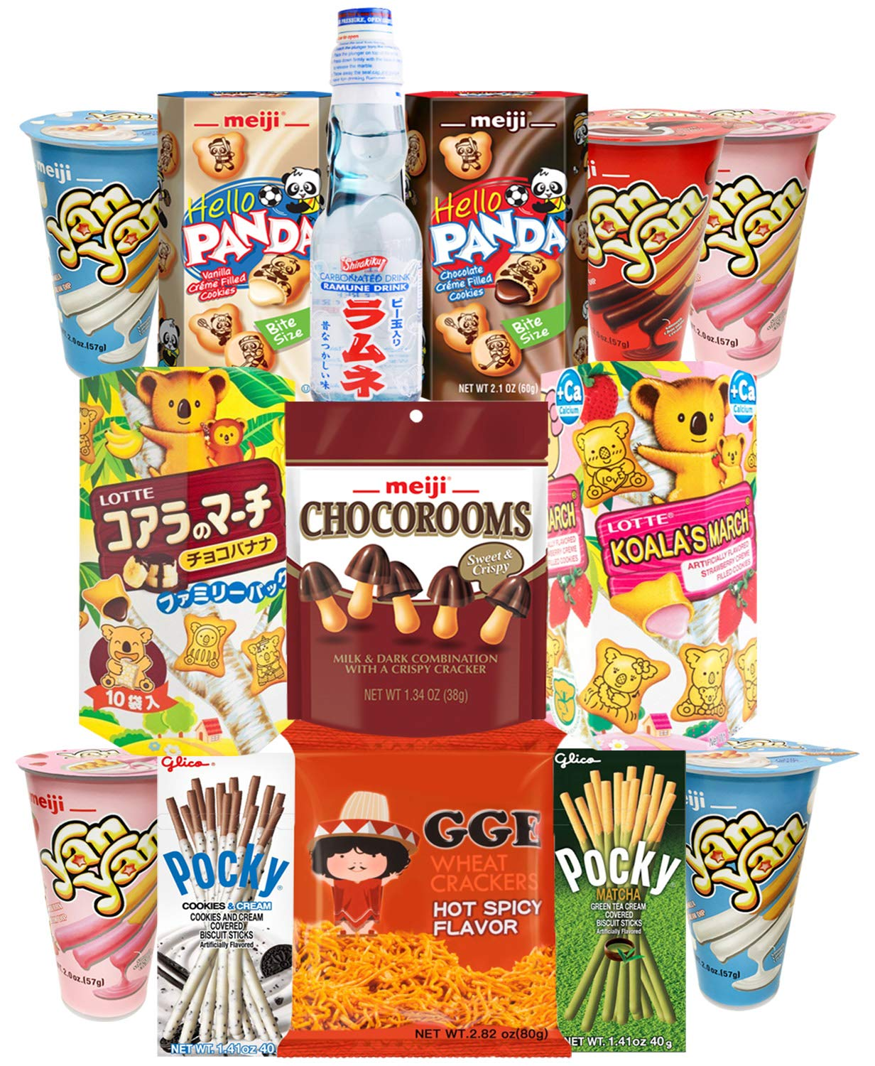 Japanese Snacks and Drink Care Package Snack Gift Box (12 Count) - Assortment of Pocky Sticks, Yan Yan, Hello Panda, Koala, GGE , Pejoy, Candy, Ramune Soda - Variety Pack Flavors