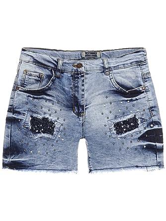 7bdf0a416c2cf3 BEZLIT Mädchen Jeans Shorts Hot Pants mit Pailletten und Riss Optik 22679  Shorts  Amazon.de  Bekleidung