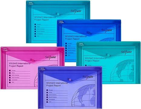 5x Snopake Polyfile Classic Colours Foolscap Stud Wallets Envelope Folders