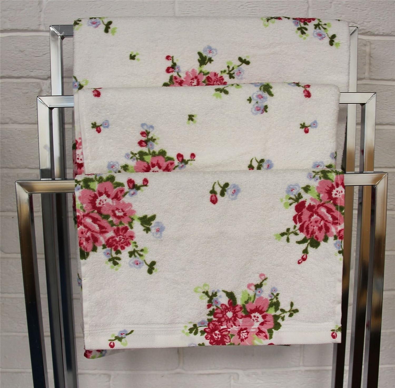 HOMESCAPES Carr/é /éponge Imprim/é Motif Floral 100/% Coton /égyptien 30 x 30 cm Blanc