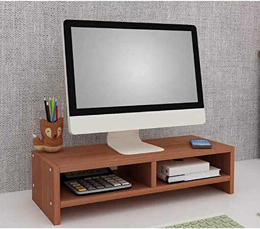 YUNLVC Madera Soporte para Monitor Pc Ordenador Almacenamiento TV Ergonómico Pc Estar Elevador del Monitor Impresora Almacenamiento Organizador Escritorio-2 Levels-B En Teca: Amazon.es: Hogar