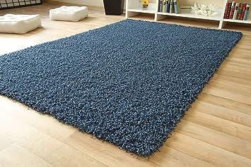 Shaggy hochflor teppich funny langflor teppich in jeans blau mit