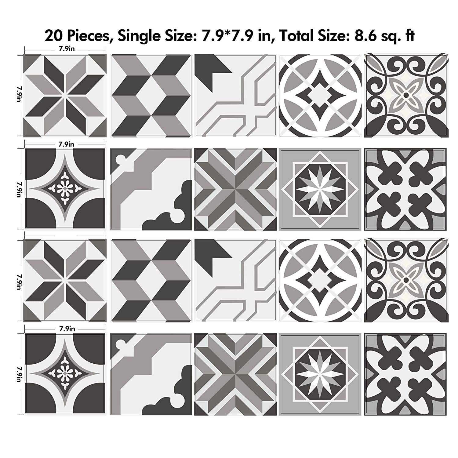 Set of 12 pcs.Tile Stickers for Kitchen Bathroom stairs riser Floor stickers