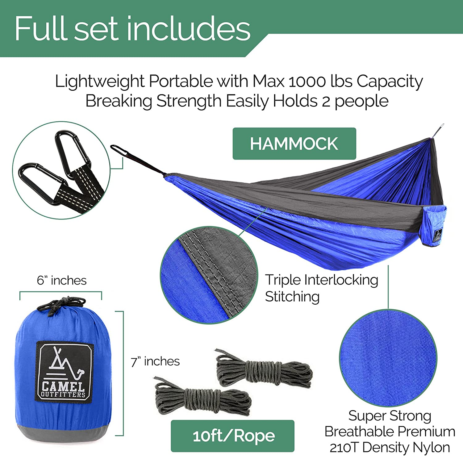 Amazon camel outfitters xl double nylon parachute camping amazon camel outfitters xl double nylon parachute camping hammock lightweight portable with max 1000 lbs capacity carabiners and long rope included cheapraybanclubmaster Images