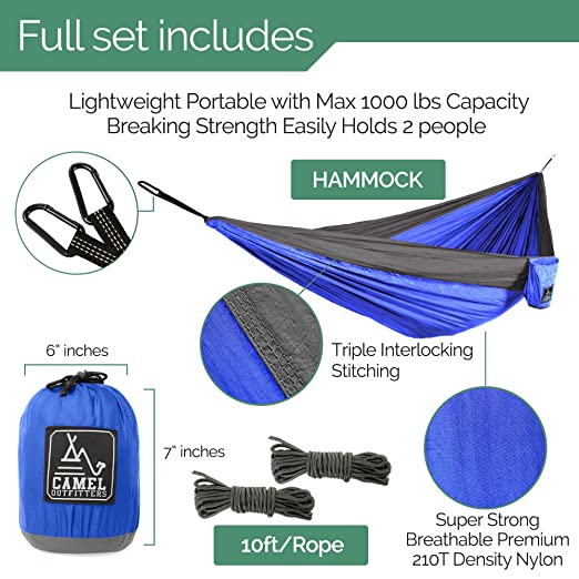 amazon    camel outfitters xl double nylon parachute camping hammock   lightweight portable with max 1000 lbs capacity  carabiners and long rope included     amazon    camel outfitters xl double nylon parachute camping      rh   amazon