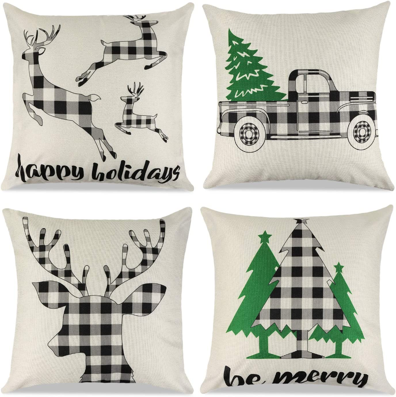 Cokoka Christmas Pillow Covers 18x18 inch Set of 4- Black and White Buffalo Check Plaid Linen Xmas Throw Pillow Covers Pillowcases for Holiday Car Sofa Cushion Couch Farmhouse Home Decor