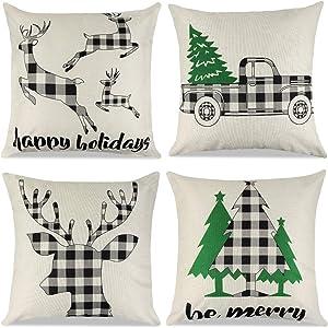 Cokoka Christmas Pillow Covers 18x18 inch Set of 4- Black and White Buffalo Check Plaid Linen Xmas Throw Pillow Covers Pillowcases for Holiday Car Sofa Cushion Couch Farmhouse Home Decor