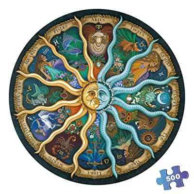 500 Pieces Puzzles for Adults Round Jigsaw Puzzles Zodiac Floor Puzzle Kids DIY Toys for Creative Gift Home Decor - Twelve Constellations: Toys & Games