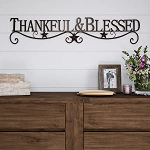 Lavish Home Metal Cutout-Thankful and Blessed Wall Sign-3D Word Art Home Accent Decor-Modern Rustic or Vintage Farmhouse Style
