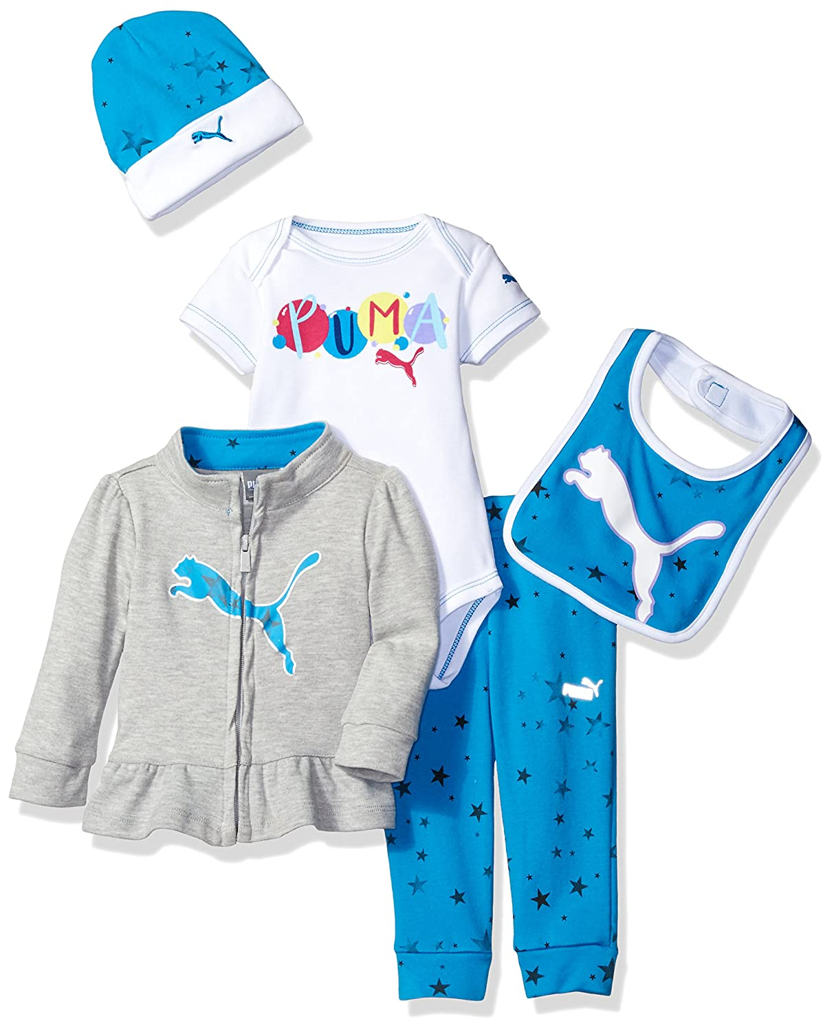 PUMA Baby-Girls Baby 5pc Set PUMA Girls' 5pc Set Light Heather Grey 6/9M 11175325