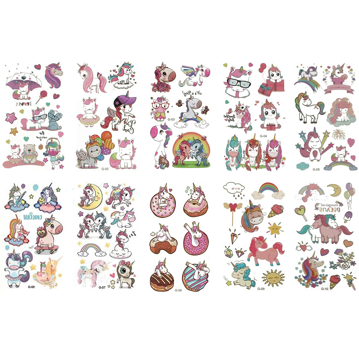 10 pieces / horned horse / cartoon waterproof temporary tattoo stickers for girls