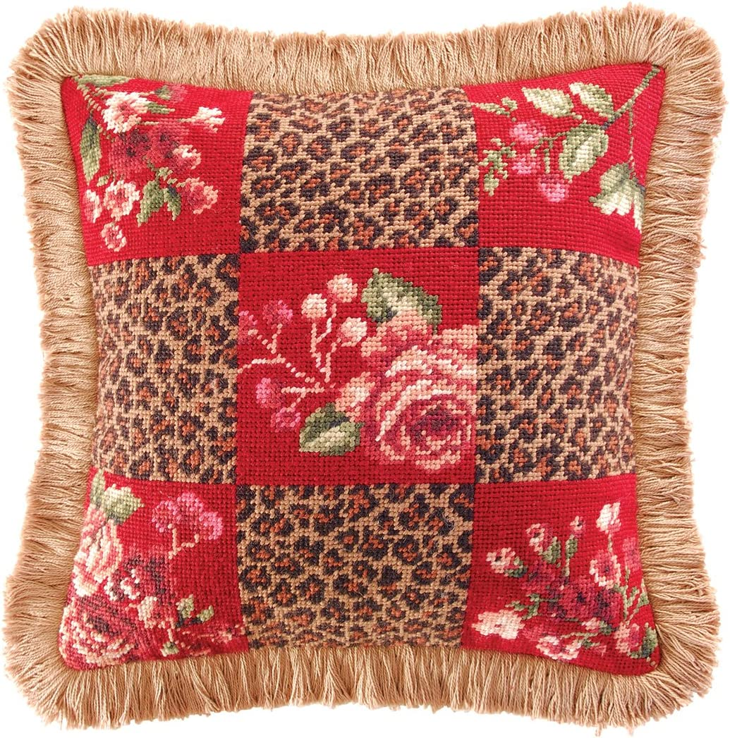 C F Home Savannah Check Needlepoint Pillow 14 x 14 Red