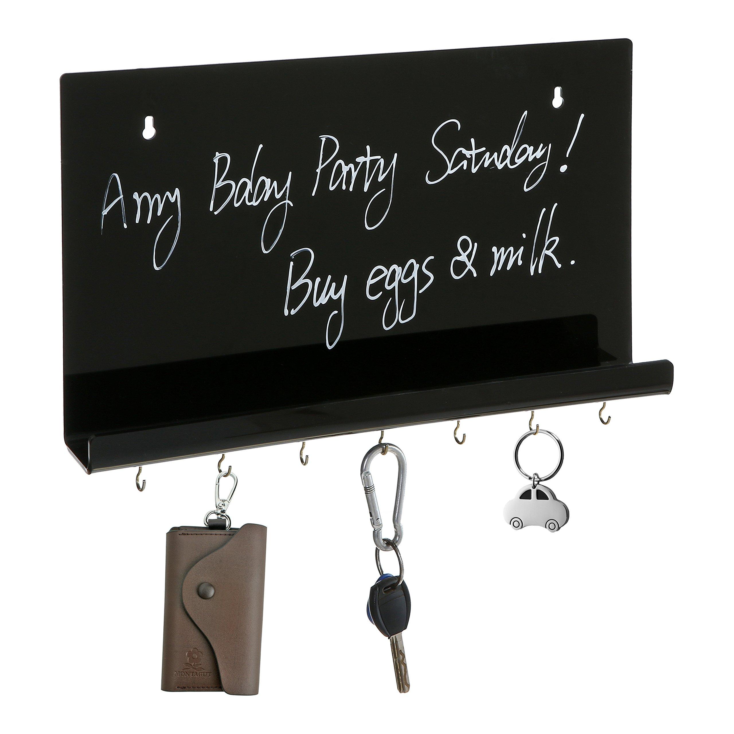 Wall Mounted Black Acrylic Liquid Chalk Message Board w/ Mail Holder Ledge and Metal Key Hooks Organizer
