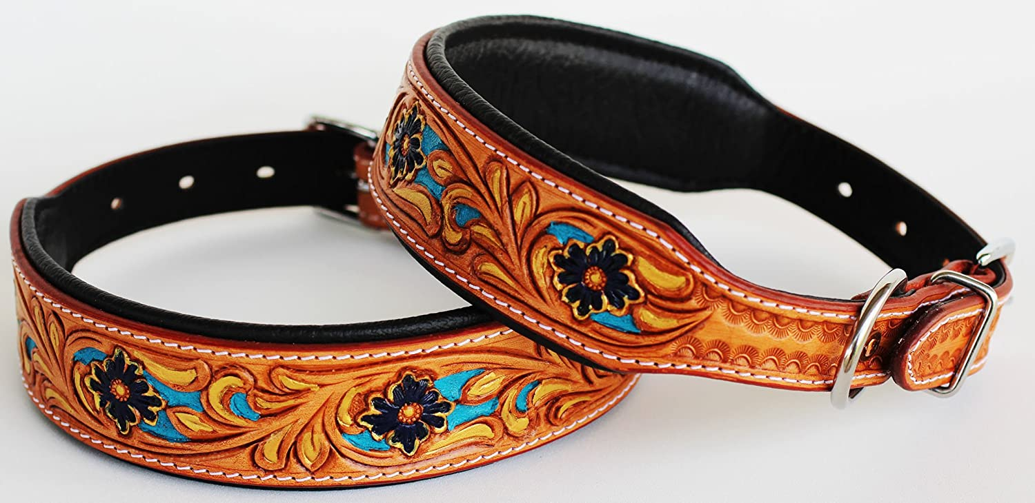Small 13''- 17'' Dog Puppy Collar Genuine Cow Leather Padded Canine 60105