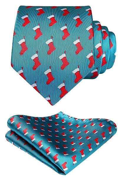 Christmas Tie.Hisdern Men S Christmas Tie Woven Party Necktie Pocket Square Set