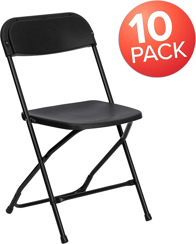 Flash Furniture 10 Pk. HERCULES Series 650 lb. Capacity Premium Black Plastic Folding Chair