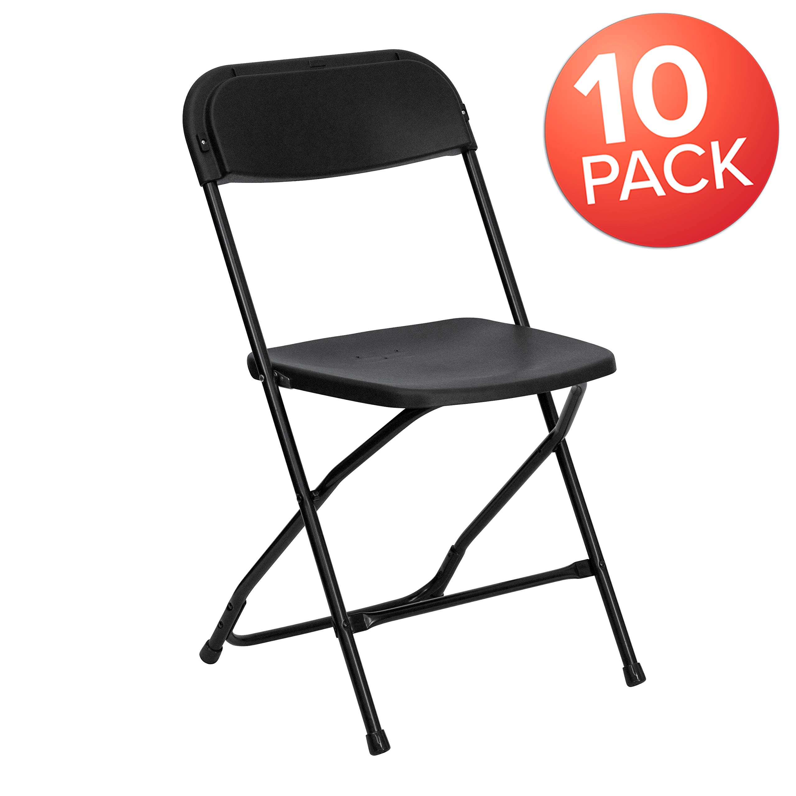 Flash Furniture 10 Pk. HERCULES Series 650 lb. Capacity Premium Black Plastic Folding Chair by Flash Furniture