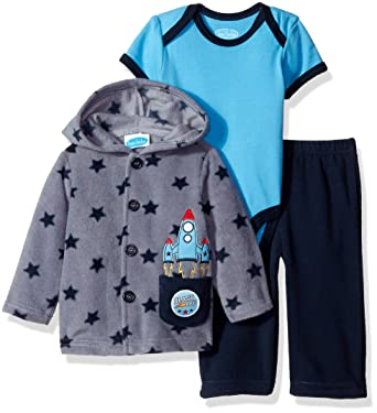 33a2c3d19ae Amazon.com: BON BEBE Baby Boys'' 3 Piece Microfleece Jacket Set with  Bodysuit and Pant: Clothing
