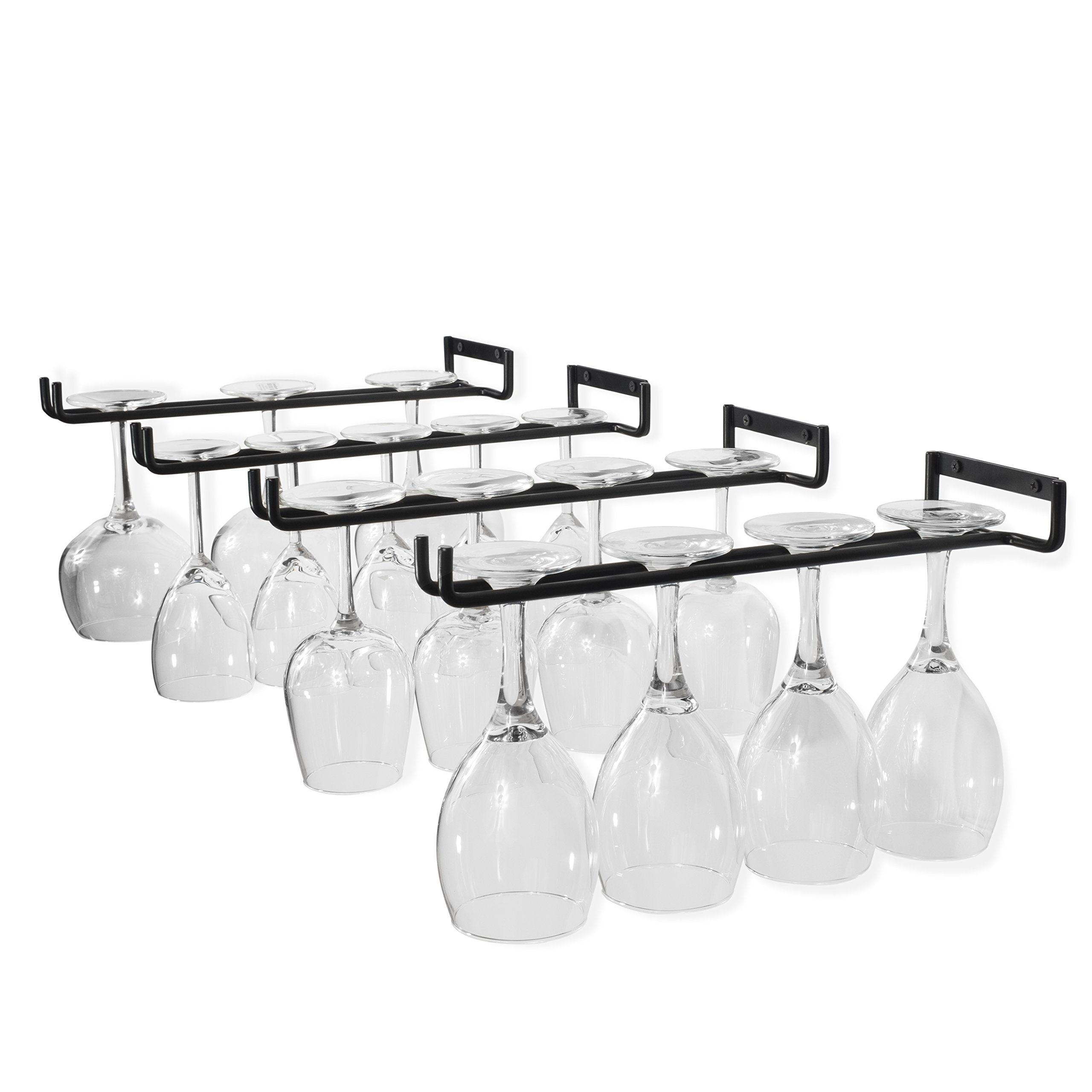 Wallniture Wine Glass Holder Stemware Rack Wall Mountable Heavy Duty Thick Wrought Iron Black 15 Inch Set of 4 by Wallniture