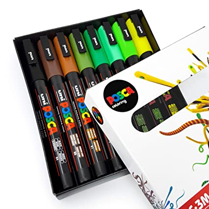 Uni Posca   Pc 3 M Art Paint Markers   Earth Tones   Set Of 8   In Gift Box by Posca