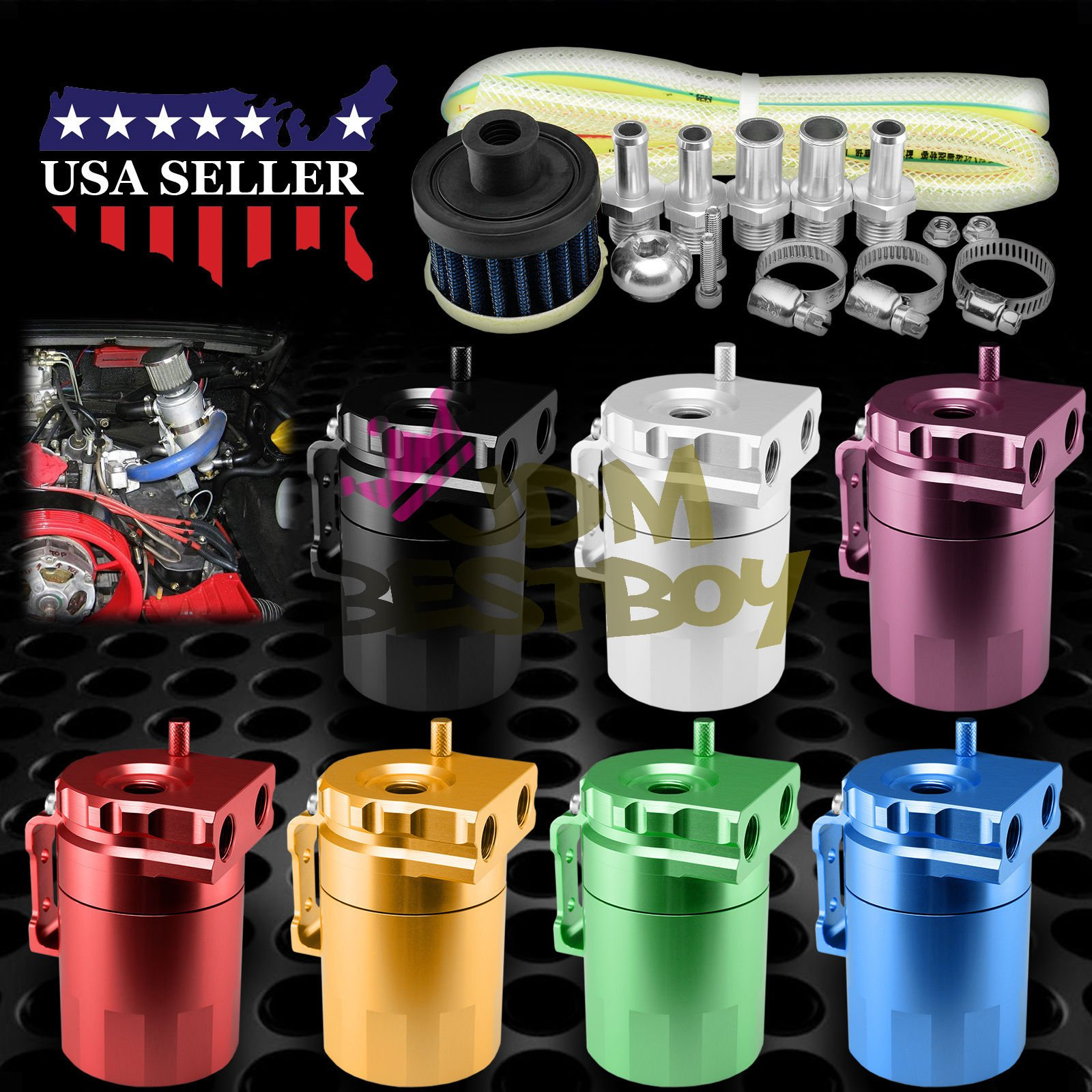 Black Billet Aluminum Engine Oil Catch Reservoir Breather Tank Can Cylinder With Filter #3 by JDMBESTBOY (Image #5)
