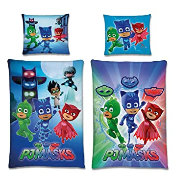 Beronage Pj Masks Biber Kinder Wende Bettwäsche Night Catboy Owlette