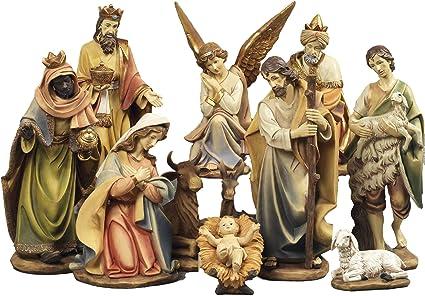 Presepe natività composto da 11 statue in resina decorata alte