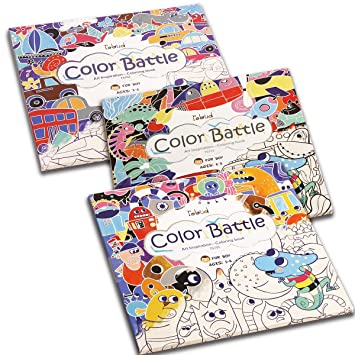 ROBUD Coloring Pad,Art Inspiration Coloring Books for Kids & Toddler: Ages  3-6, Early Learning Gifts for Preschool, Set of 3 (Color Battle Set for ...