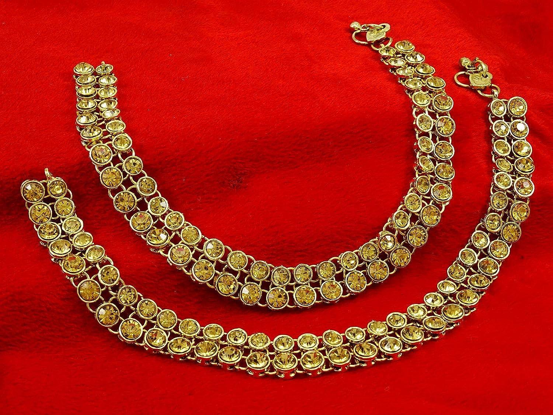 Banithani Goldtone Barefoot Chain Ankle Bracelet Indian Wedding Jewelry Gift For Women