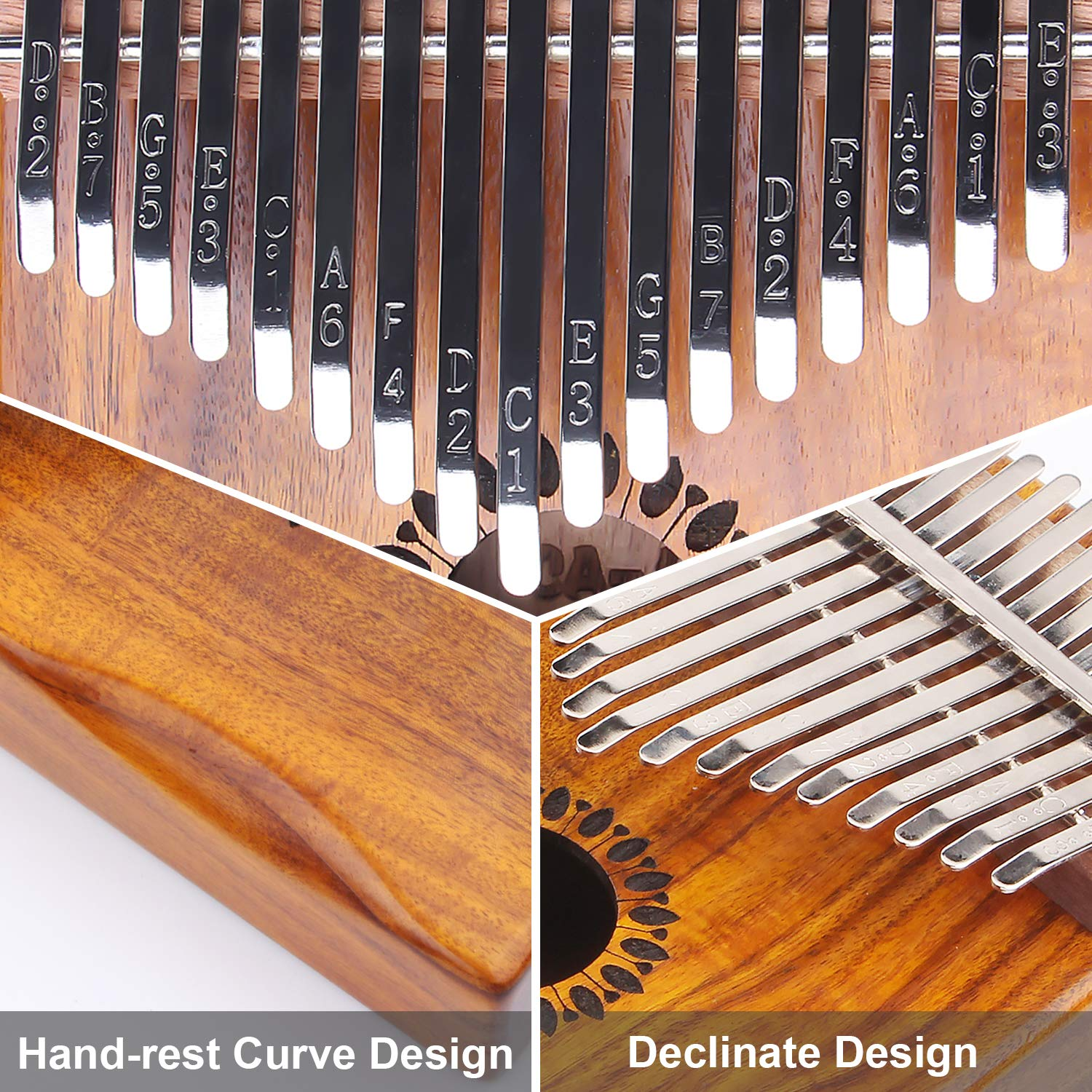 Kalimba Thumb Piano 17 Keys, Portable Mbira Finger Piano Gifts for Kids and Adults Beginners by Newlam (Image #3)