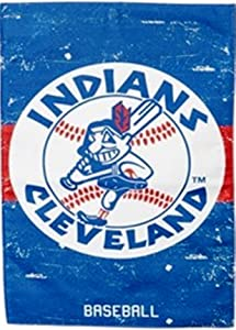 Rico Industries Cleveland Indians Chief Wahoo EG Vintage Retro 2-Sided Garden Flag Linen Banner Baseball