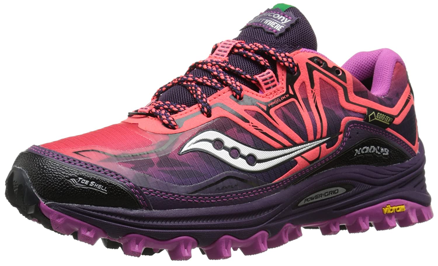 Saucony Women's Xodus 6.0 GTX Trail Running Shoe B00PJ8UW06 9.5 B(M) US|Coral/Purple