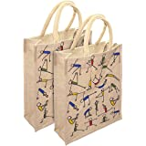 Saisan 2 Pack Yoga Print Jute Lunch Bag With Top Zipper For Unisex (12X5X10 Inch)