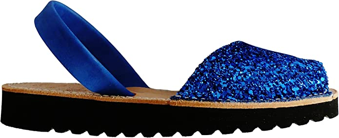 Glitter Turquesa Abarcas Sandalias Avarcas menorqu/ínas con Plataforma//cu/ña Blanca 2,5 cm Albarcas